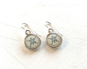 Sand dollar art, Ocean print, Sand dollar earrings, Ocean jewelry