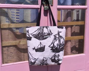 Vintage towelling beach bag -  boats design