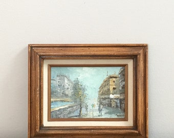 Small Vintage French Oil Painting Paris Street Seine River Scene