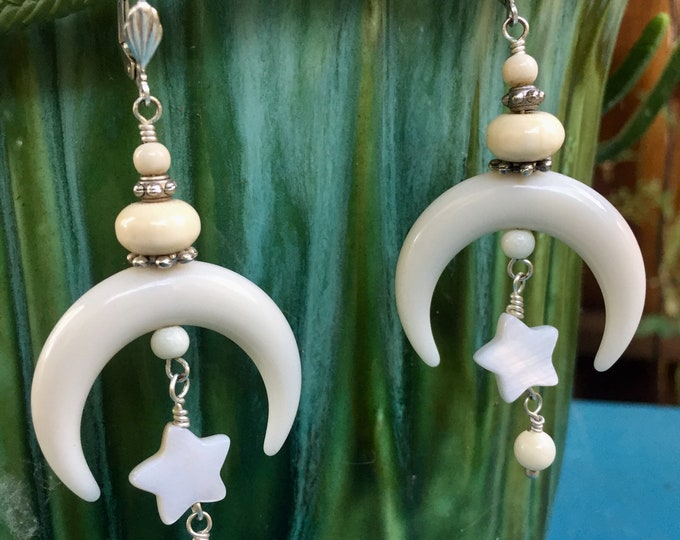 Moon & star earrings,Gypsy,Celestial moon earrings,moon earrings,crescent moon,gypsy mama,mystical earrings, boho,Renaissance Faire,festival