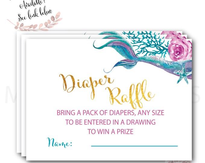 Mermaid Diaper Raffle //  Diaper Raffle Ticket // Gold // Mermaid Baby Shower // Mermaids // Printed //  QUEENSLAND COLLECTION