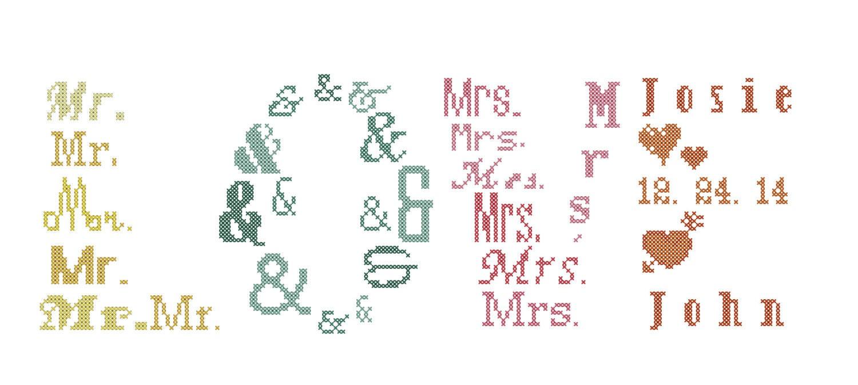 Love Cross Stitch Pattern Mr and Mrs Cross Stitch Pattern Dr