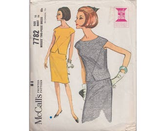 1960s Slim Skirt and Shaped Top with Cap Sleeves McCalls 7782 Size 16 Bust 36 Misses 2 Piece Dress Vintage 1965 Sewing Pattern