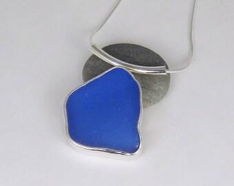 Cornflower Blue Sea Glass Bezel Pendant Necklace Maine