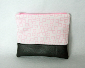Zipper Pouch with Vinyl Accent - Pink and White with Gray Vinyl