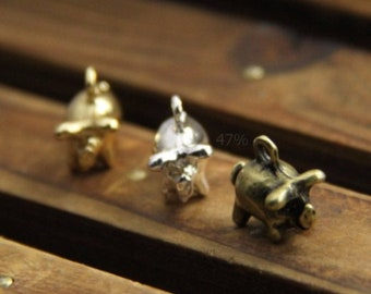 6 pcs of 3D piggy charm pendant 1909-20mm length 3D piggie charm -matte silver/gold/ antique bronze