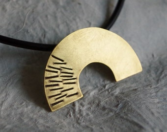 Modern Necklace of a Brass Semicircle, Pendant with Ornaments, Punched and Patinated Jewelry.