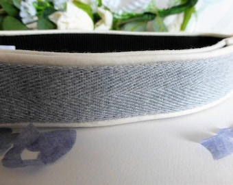 wedding dove grey cotton webbing adjustable collar with piping detail