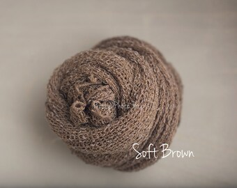 Soft brown Free Shipping! - Newborn Stretch Knit Wrap - Ready to Ship Wraps, open weave stretch knit wrap