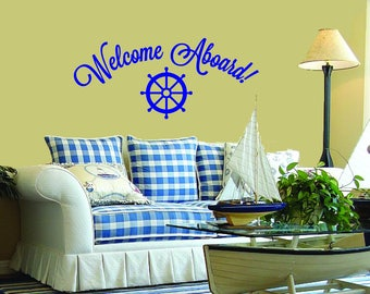 Welcome Aboard (w/Captain's Wheel) Wall Decal