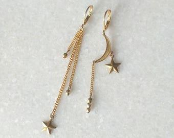 Asymmetrical Earrings - Star Earrings - Moon - Chains - Ascendant Earrings (SD1337)