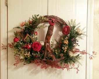 Red Cardinal Tree of Life wreath