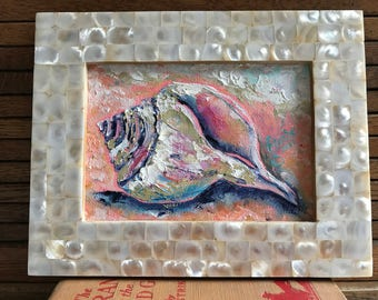 Sea-duction , conch shell painting, original oil, 5in X 7in , seashell on beach , framed, signed by artist