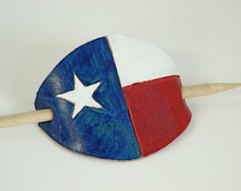 Handpainted Texas Flag Leather Ponytail Holder Barrette with Wooden Stick