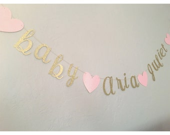 Baby Name Banner - Custom Banner- Baby shower banner- It's a girl, It's a boy banners- baby shower decorations, name banners