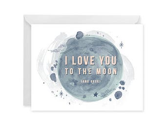 Love You to the Moon Card - Love Card - Moon Phases Single Card Blank Inside