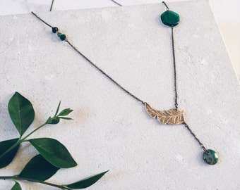 Tropical palm leaf necklace, forest green gemstones, tropical jewelry, green necklace