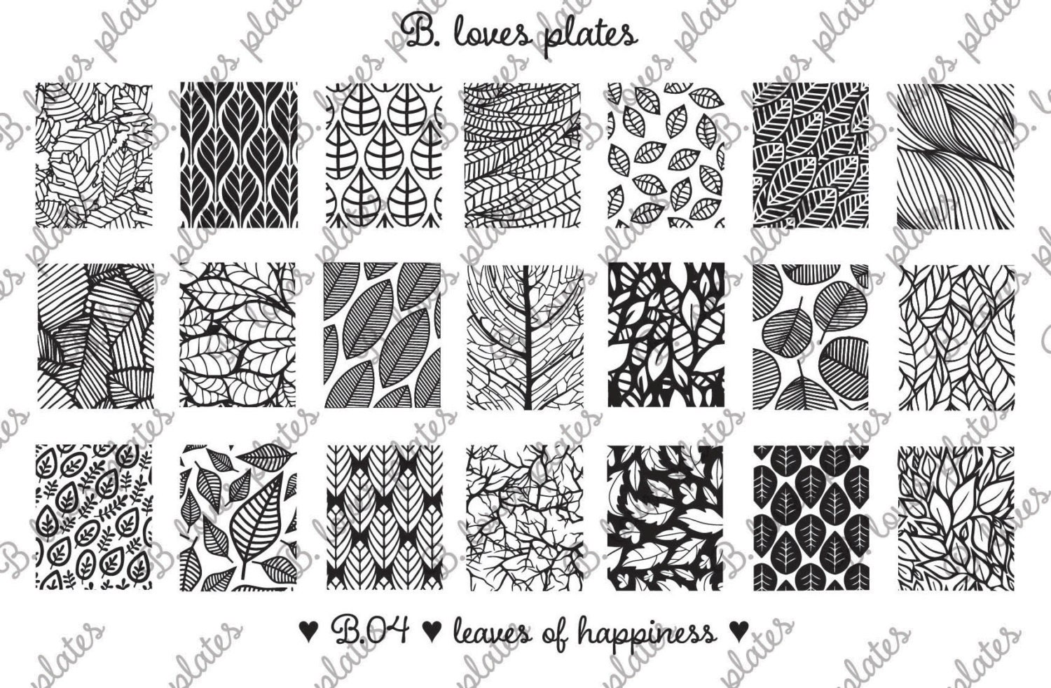 B.04 - leaves of happiness - nail stamping plates (B. Loves Plates ...