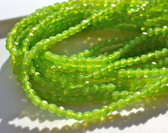 Milky Peridot Green 4mm Faceted Fire Polish Round Beads    50