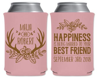 Neoprene Coolers Beer Can Beverage Insulator Personalized Wedding Favor | Happiness Is Being Married To Your Best Friend | READ DESCRIPTION