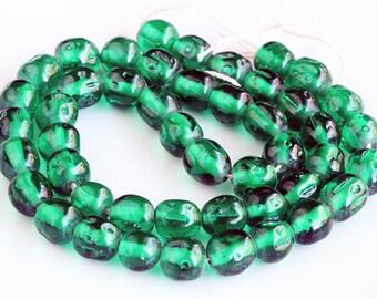 Vintage Glass Beads, Miriam Haskell Cherry Brand , 8 mm baroque, Shabby chic beads, Emerald Jewel Green (20) beads