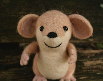Beige Needle Felted Mouse