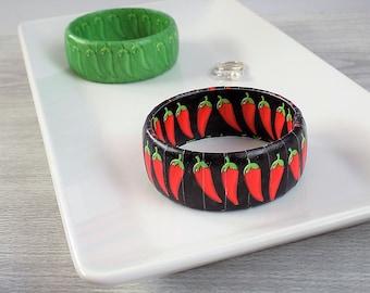 Cinco de Mayo Bracelet - Chili Pepper Bracelet - Red Hot Chili Pepper Jewelry - Green Pepper Jewelry - Unique Bracelet - May Birthday Gift