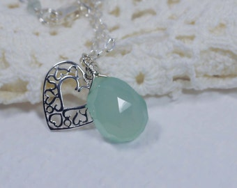 Chalcedony Natural Gemstone Pendant Silver Jewelry Heart Filigree Pendant Mothers Day Gift