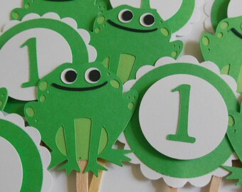1st Birthday Frog Cupcake Toppers - Green and White - Gender Neutral - Birthday Party Decorations - Set of 12