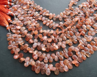 30 pcs-8 mm to 9 mm Natural Sunstone Briolette Faceted Pears  strand-AAA+ Rare Quality