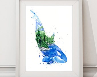 Kasatka / Orca Killer Whale, Ocean & Forest Spirit Animal Art print, Coastal Watercolor Painting, Home Wall decor, Gift for her 8x10 11x14