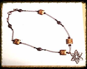 Handmade MWL venetian beaded necklace. 0104