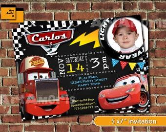 CARS CARS cars birthday invitation lightning mcqueen