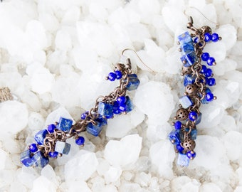 Earrings with Lapis Lazuli and copper accessories.