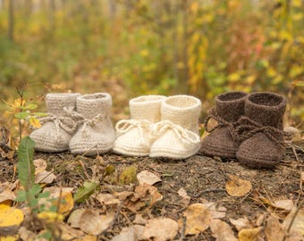 Hand Knit Felted Wool Baby Booties
