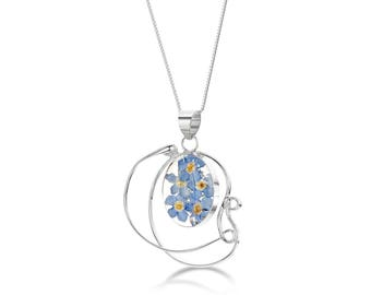 Silver Pendant Necklace - forget me not - Swirl by Shrieking Violet® (ZSV-FPX04)