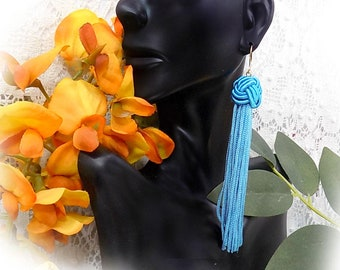 Tassel drop earring -Knot Long Drop Earring- blue tassel dangle earring -blue tassel drop earring -Trendy Drop Earrings -Gift for Her -#  22