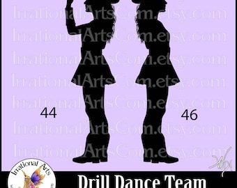 Drill Dance Team Silhouettes poses 44 & 46 - with 2 EPS, SVG Vinyl Ready files and 2 PNG Digital Files and Small Commercial License