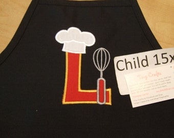 Chef Alpha Monogrammed Personalized Kid Med 15x20 Apron - 16 apron colors