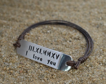 Personalized Plate Bracelet | I Love You | Anniversary Gifts For Boyfriend | Girlfriend Boyfriend Gift | Long Distance Gift | Couples Gifts