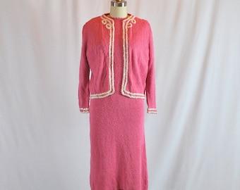 1940s Vintage Knit Dress | Two Piece | Sweater Bolero & Dress | 30 Waist | Medium - Large