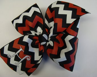 Chevron Initial, Monogrammed Girls, Hair Bow, School Mascot, Uniform Cheer, Colors Red, Youth Boutique, Initial, Monogrammed, Embroidery,