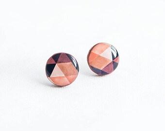 Brown stud earrings, geometric earrings studs, small stud earings, boucles d'oreilles