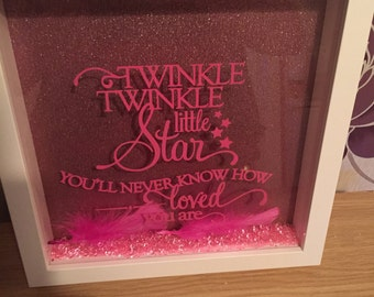 """Any colours - Silhouette box frame """"twinkle twinkle little star you'll never know how loved you are"""""""