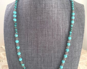 Turquoise Magnesite Necklace, Silver Plated Pewter Beads