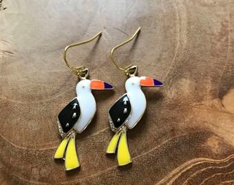 Tropical Bird earrings - goldtone dangling earrings with metal charm of a colored bird - white, black, yellow, orange, purple, bird, tropic