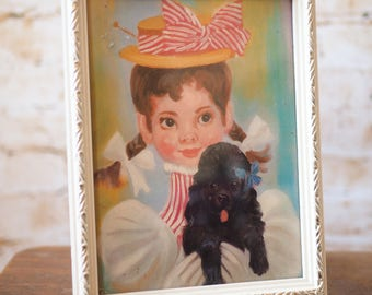Small Framed Print of a an Old Fashioned Girl with a Puppy