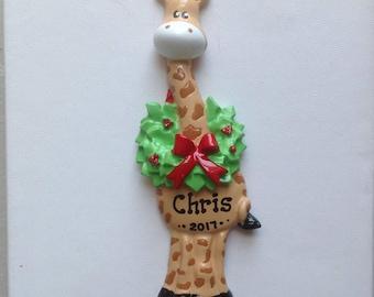 Personalized Giraffe Boy /Girl's First Christmas Ornament Gift Newborn, 1st Birthday , Birth Announcement , Christening Favors