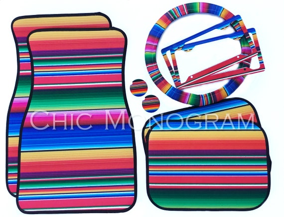 Serape Car Accessories MIX AND MATCH Personalized Car Mats Steering Wheel Cover License Plate Frames Car Coasters Serape Mexican Blanket