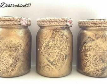 Storage jars, jar set, jars, set if three jars, decorative jars, office storage, pen jars, bathroom jars, bedroom jars, bedroom storage jars